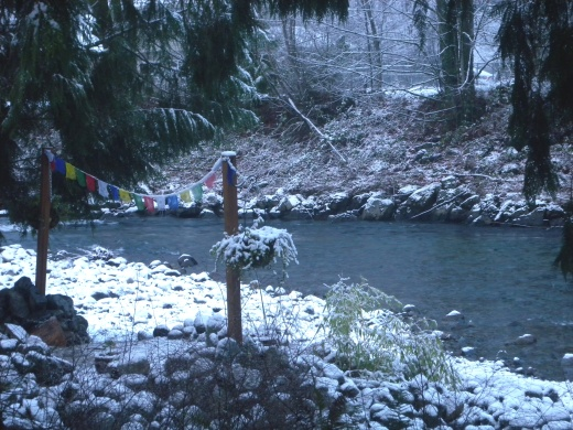 Prayer flags wave their colors in the snow.