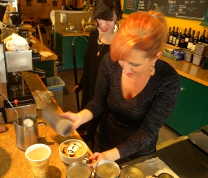 Our local latte' artist at Pioneer Coffee in North Bend, WA