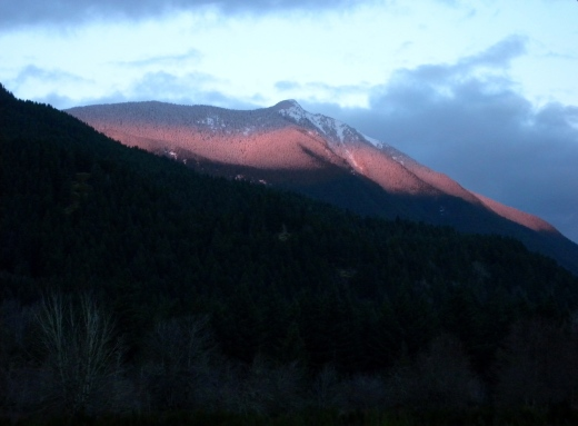 The stripe of color on the peak with fresh snow took my breath away!