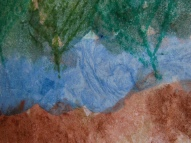 Crayon rubbing of cedar sprigs over the paint