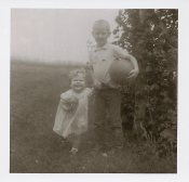 me and brother by grape vines in Pennsylvania Dave Sheri