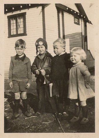 Mom Lorraine and her brother Ron on right with neighbor kids or cousins 34 or 35
