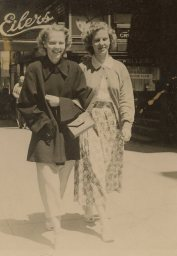 Mom Lorraine Loland and her sister my auntie Geraldine on Granville St in Vancouver BC by Foncie's Fotos Granville