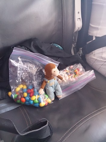 George loved his seat on Alaska Airlines - lots of leg room! And he brought plenty of snacks.