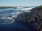 Cool! George said when he saw the lava mesh into black sand