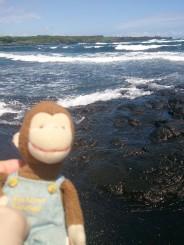 George on the black sand beach