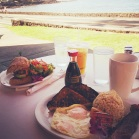 George thought the breakfasts at Lava Jave were beautiful - flowers and all!