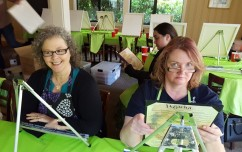 Sheri and Tracy getting ready to paint a turtle