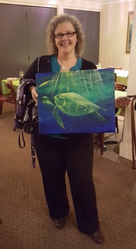 Sheri with finished turtle painting
